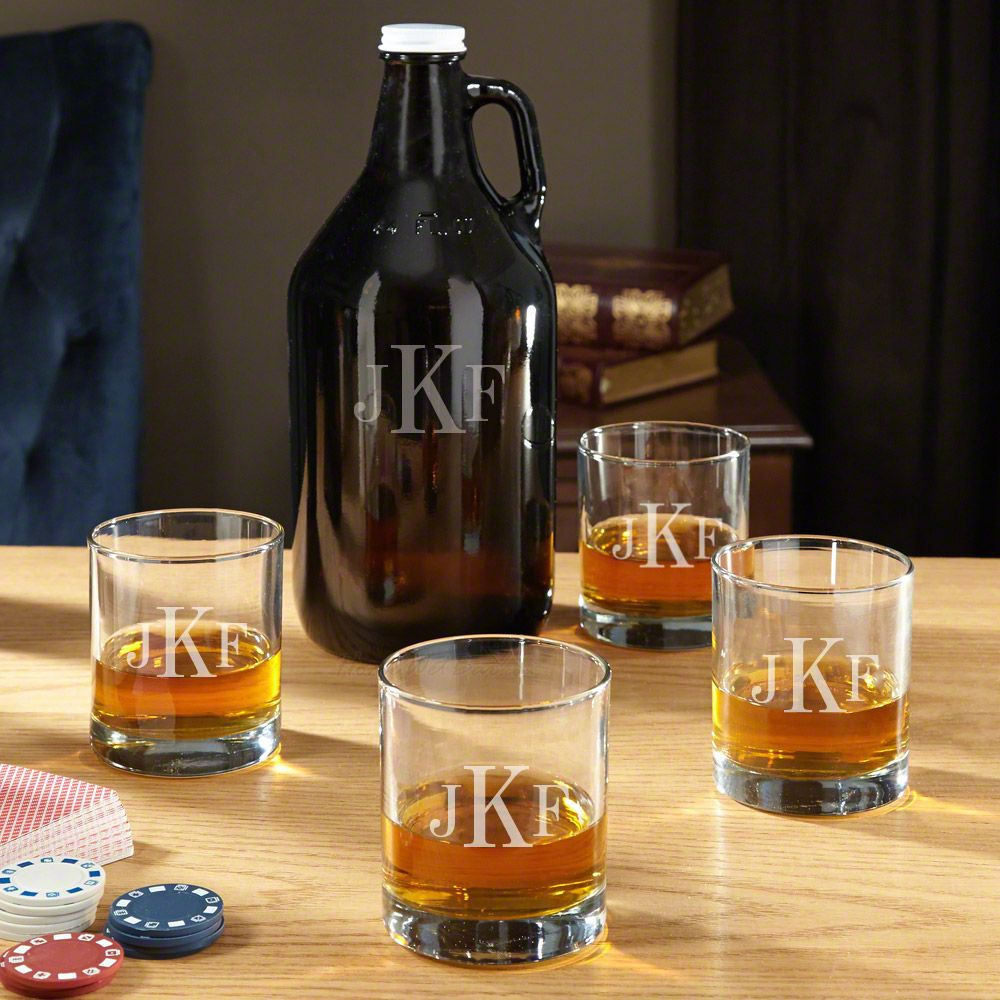 Personalized Whiskey Glasses and Growler Set
