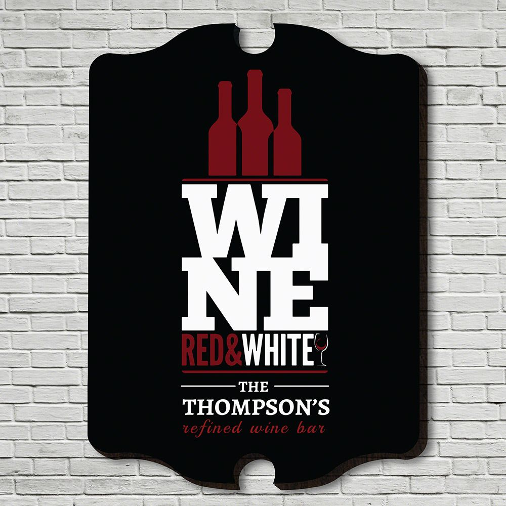 Red, White, and Wine Personalized Bar Sign