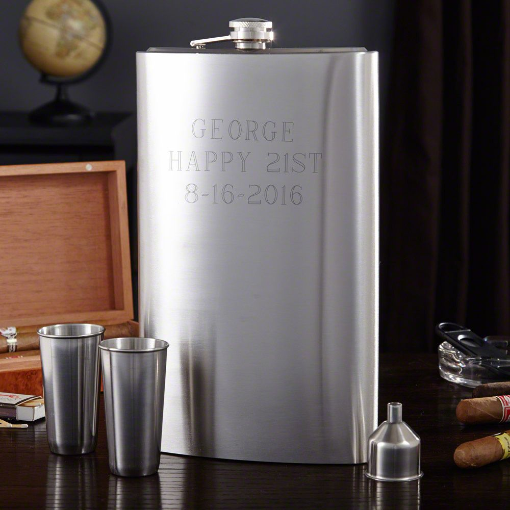 Extremely Large Engraveable Flask Set
