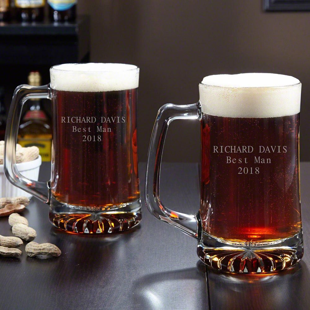 Personalized Beer Mugs, Set of 2 - 25 oz