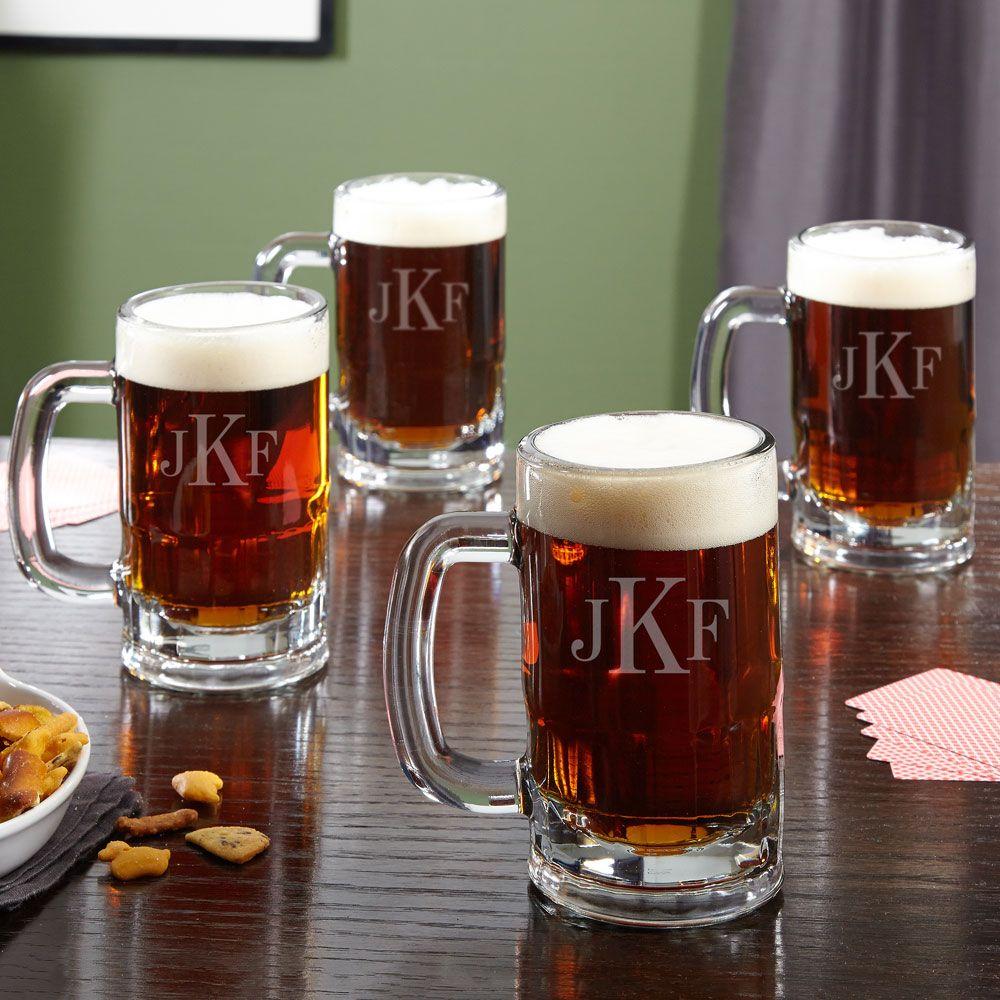 Benton Classic Monogram Beer Mugs, Set of 4