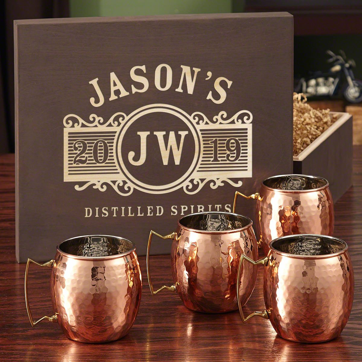 Marquee Copper Mug Set with Custom Wooden Gift Box