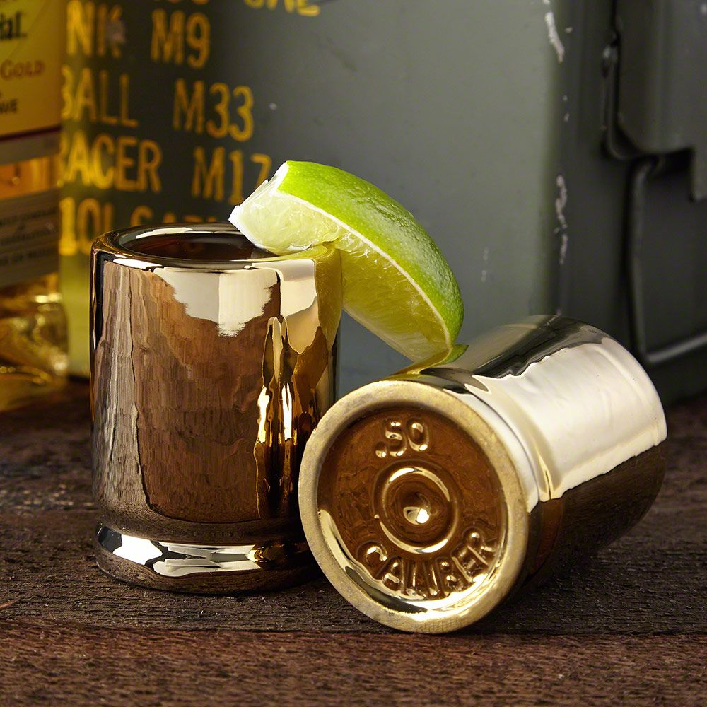 50 Caliber Bullet Shot Glasses, Set of 2