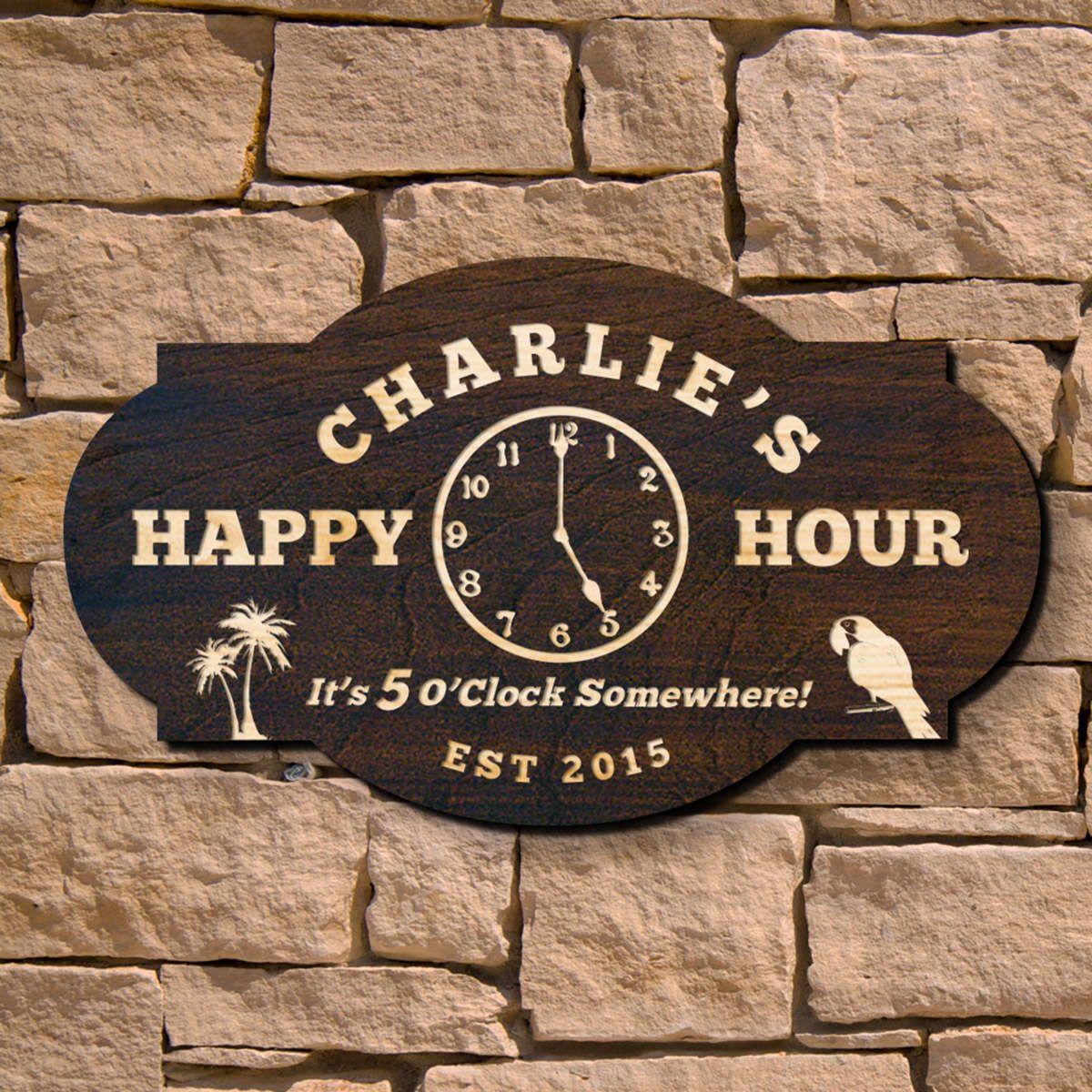 Happy Hour Custom Bar Sign (Signature Series)