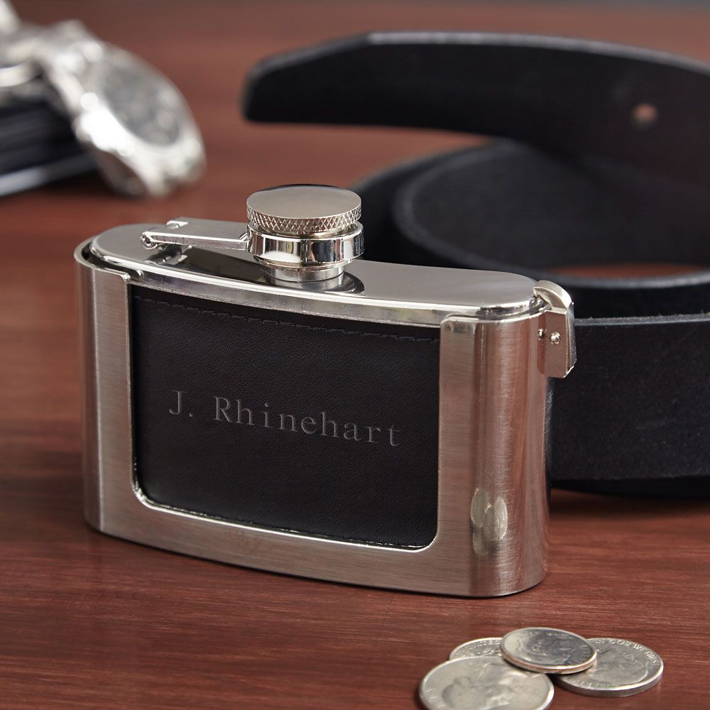 Hiding in Plain Sight Leather Personalized Belt Buckle Flask