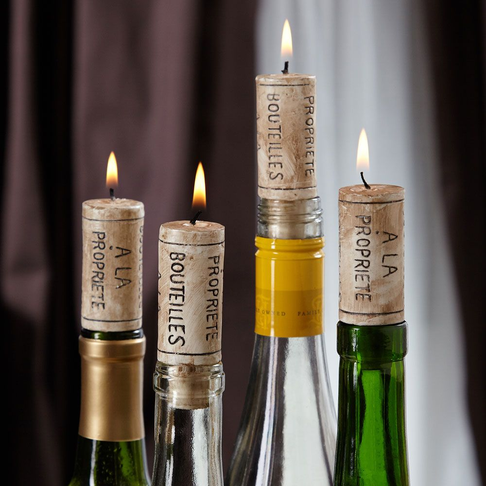 Cork Candles: Soft Glow Wine Cork Candles, Set Of 4