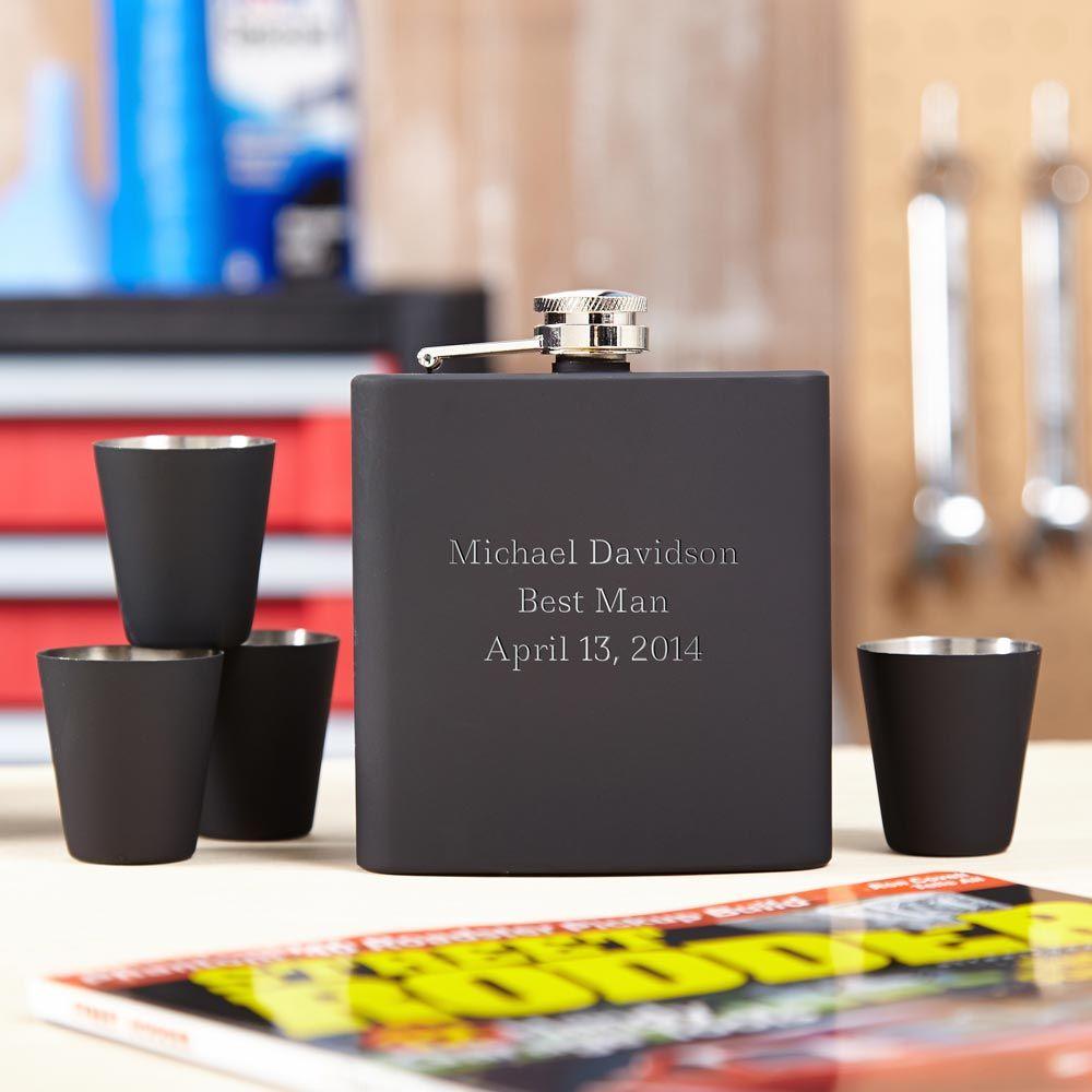 Blackout Engraved Hip Flask Gift Set