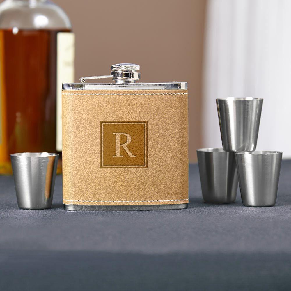 Cocoa Leather Block Monogram Hip Flask Set