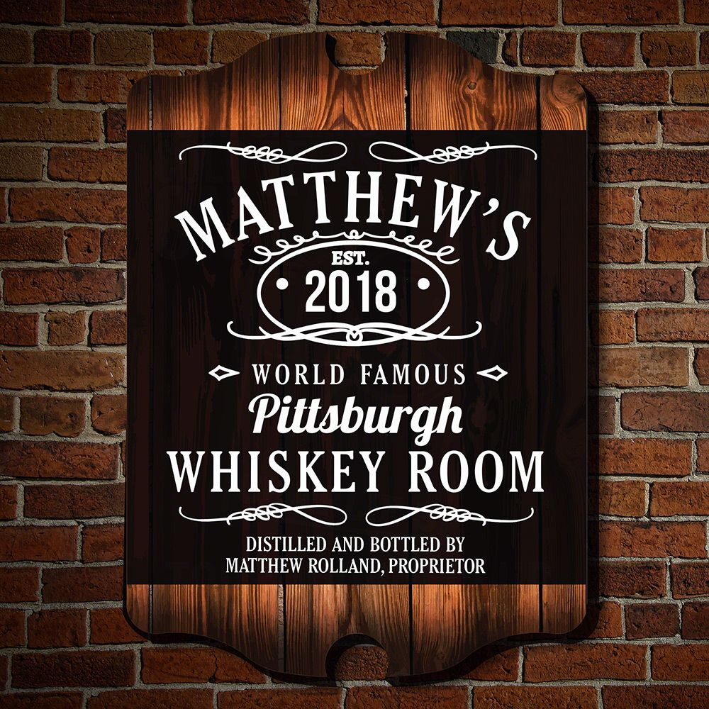 Personalized Wall Art Decor: Famous Whiskey Room Custom Bar Wall Decor
