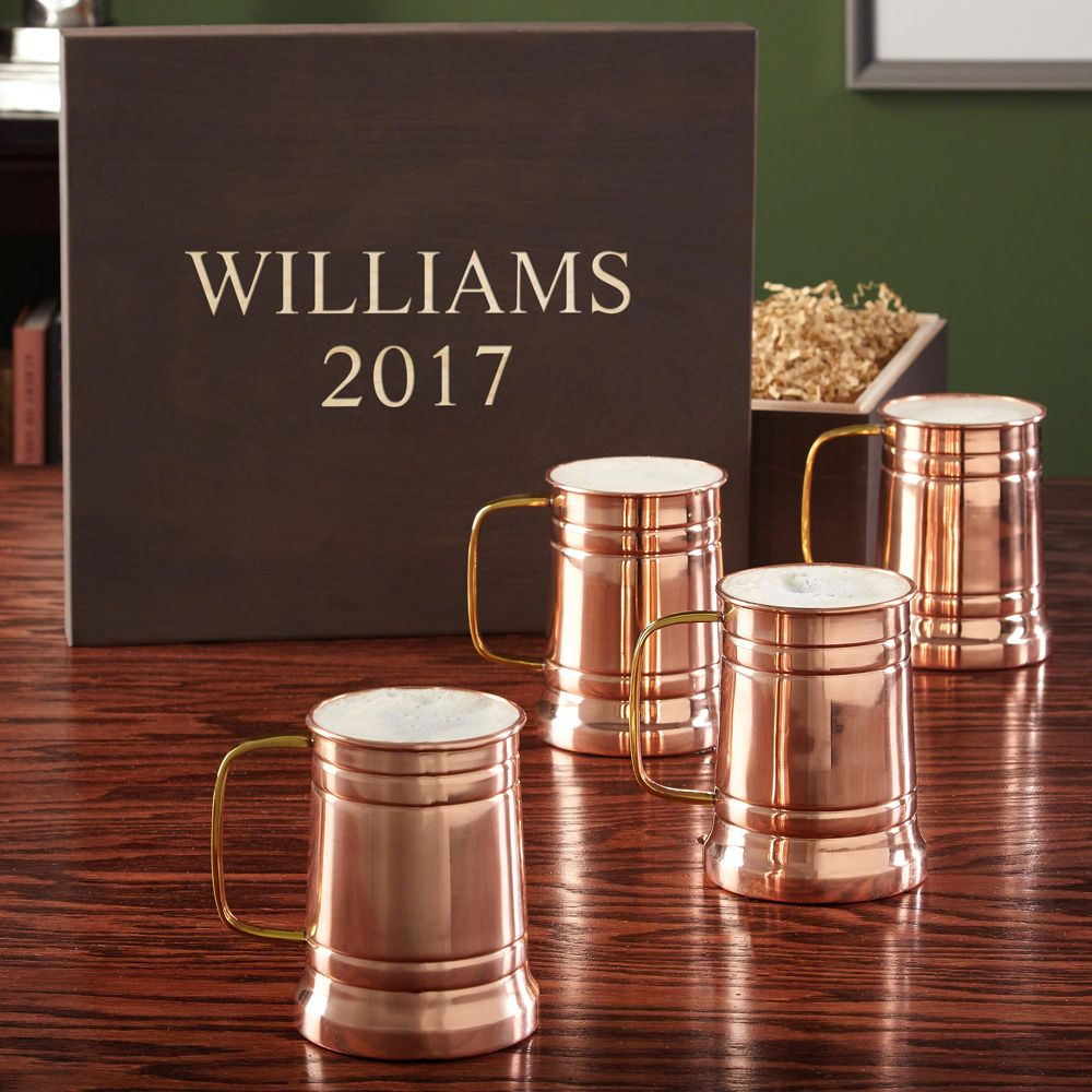 Koln Copper Beer Steins with Engraved Wooden Gift Box