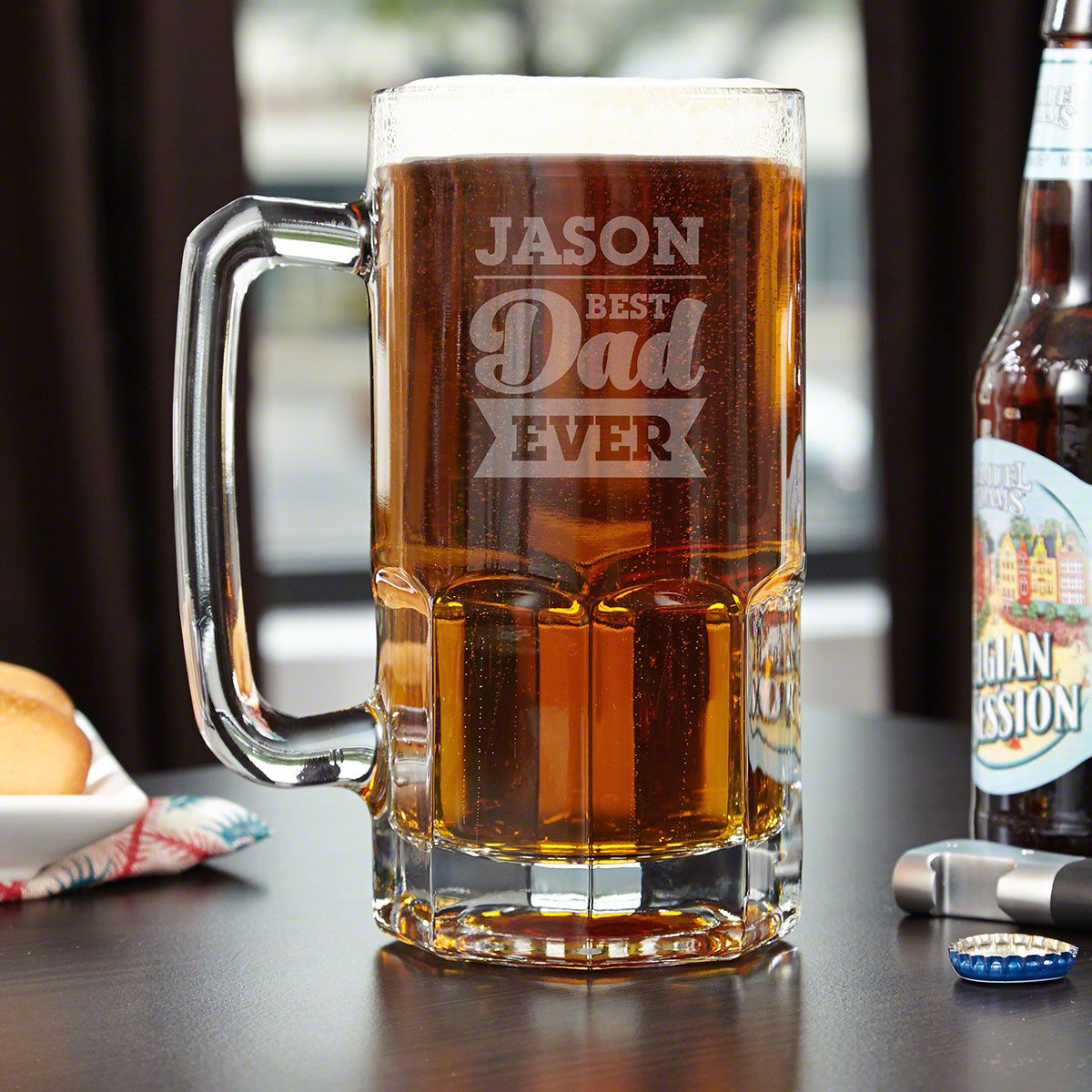 For the Best Dad Colossal Personalized Beer Mug