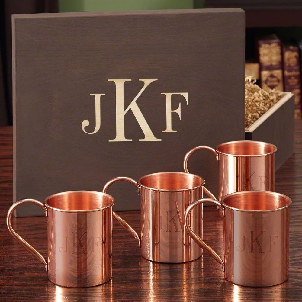 Monogrammed Copper Mug Set with Wood Gift Box