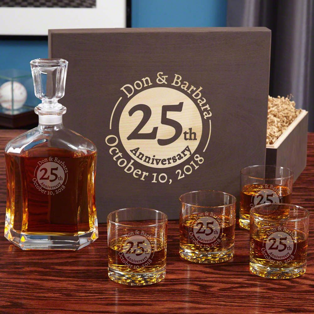 Landmark Anniversary Engraved Whiskey Set with Wood Gift Box