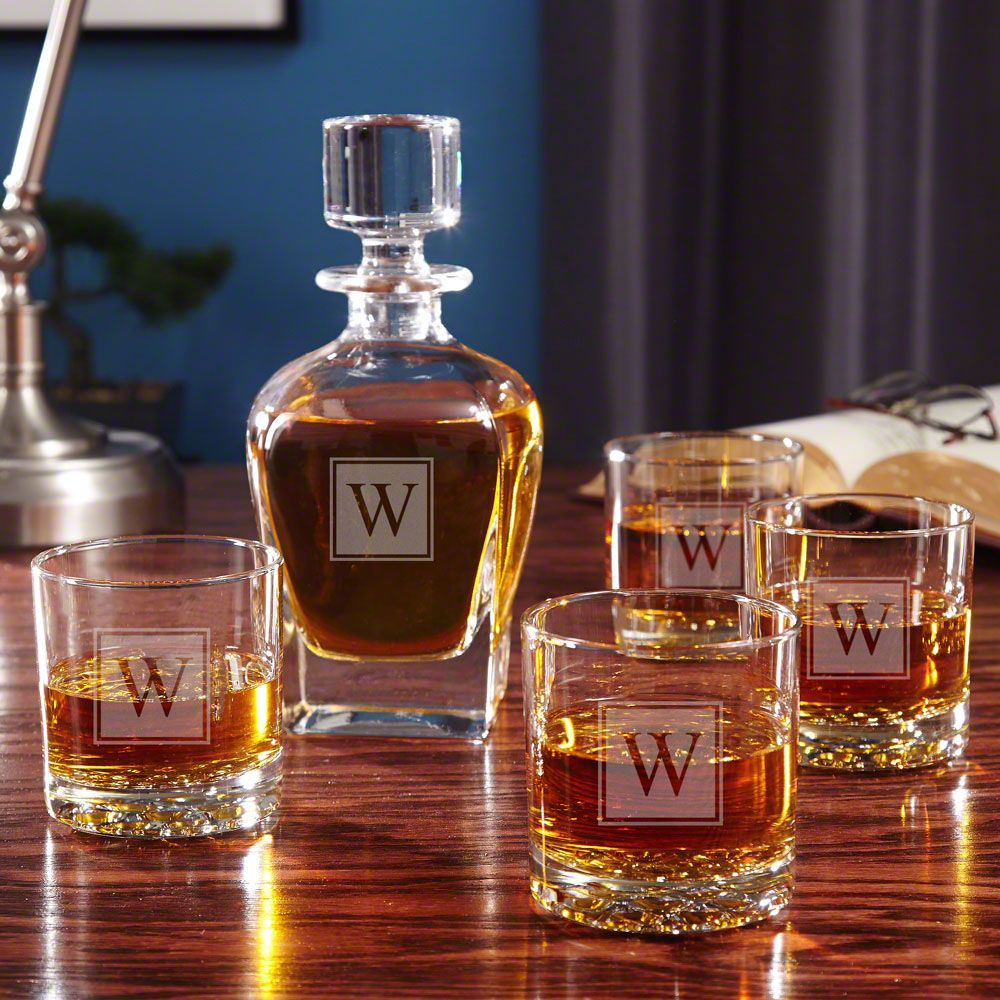 Block Monogram Whiskey Glass Gift Set