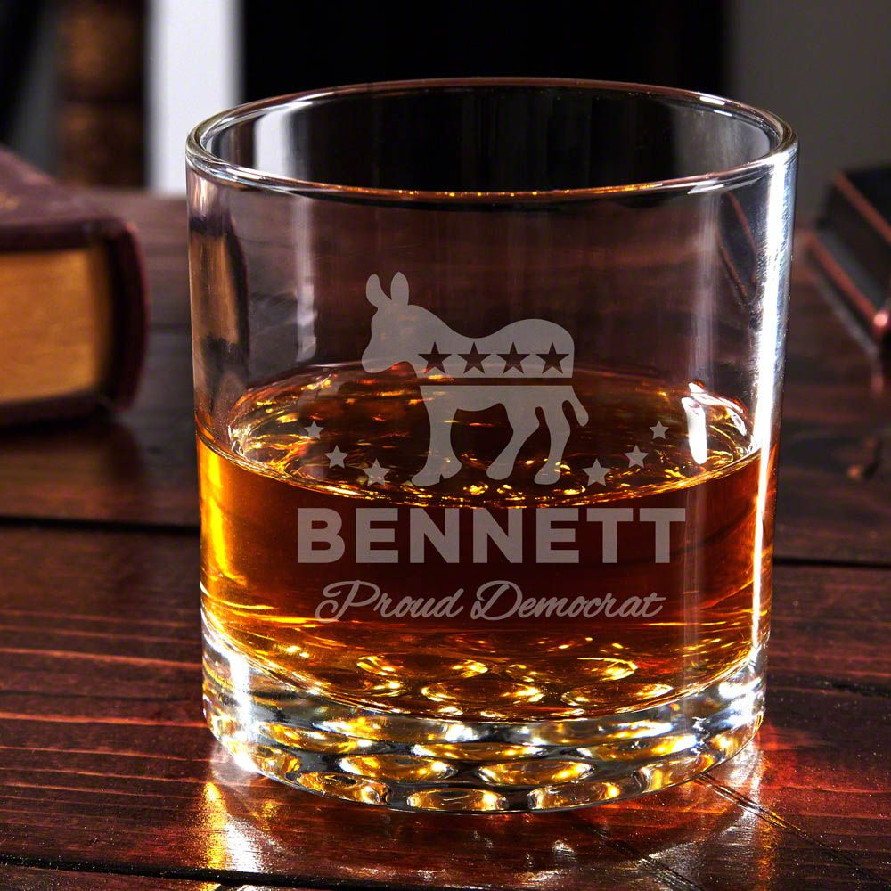 Proud Democrat Personalized Whiskey Glass