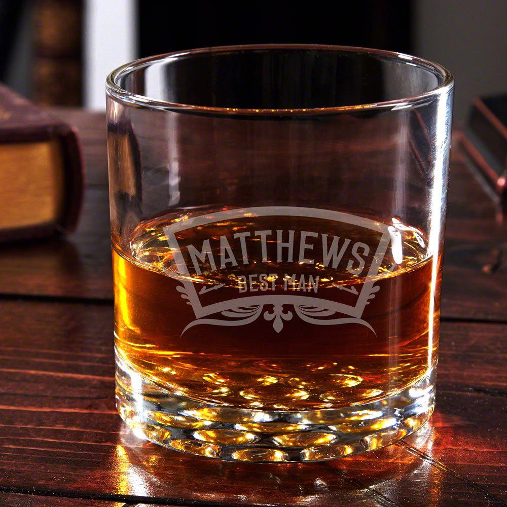 Wedding Party Engraved Buckman Whiskey Glass