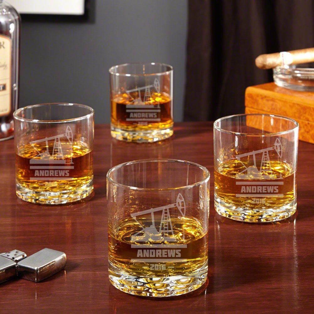 Buckman Personalized Oilfield Whiskey Glasses, Set of 4