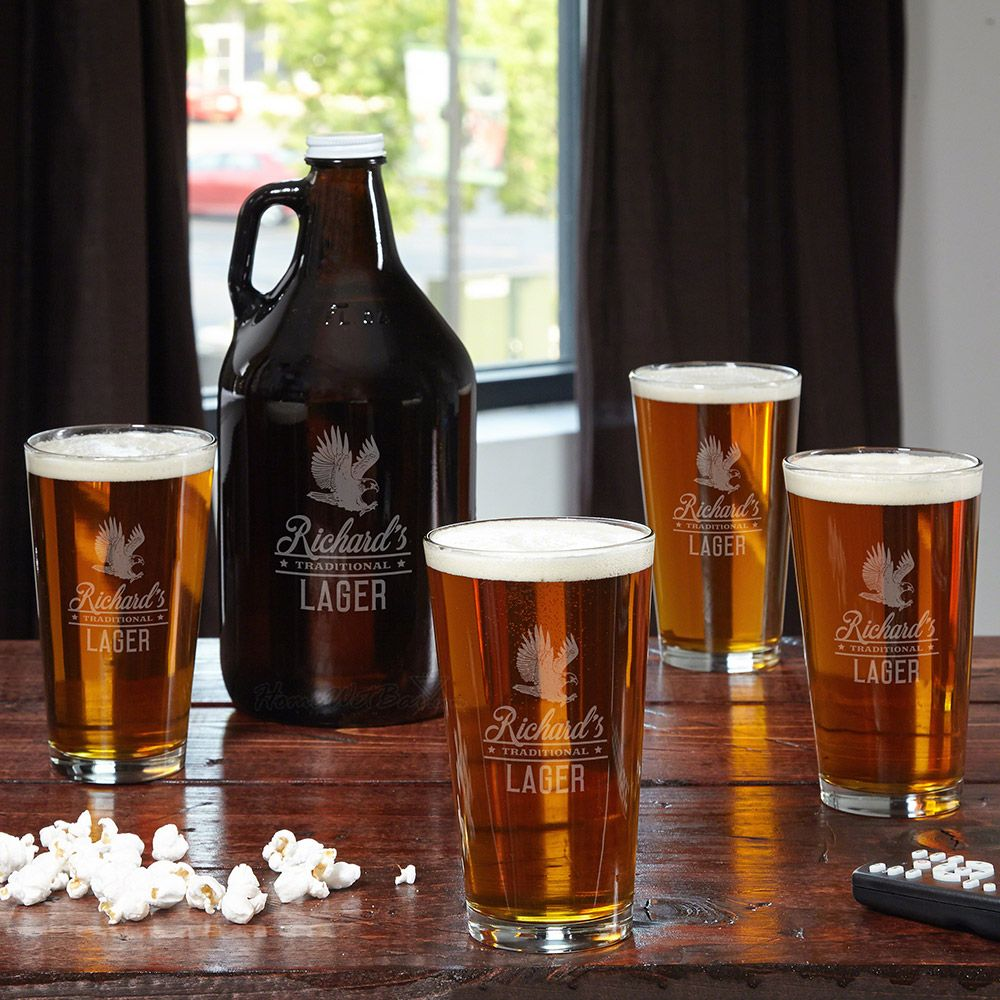 Rushmore Personalized Beer Growler and Glasses Set