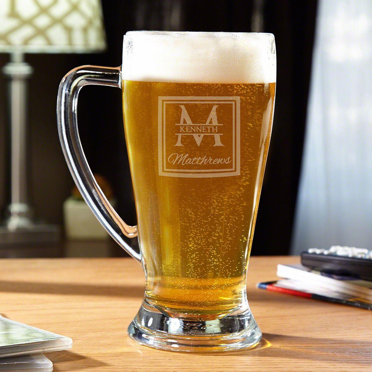 Oakhill Monogrammed Glass Beer Mug