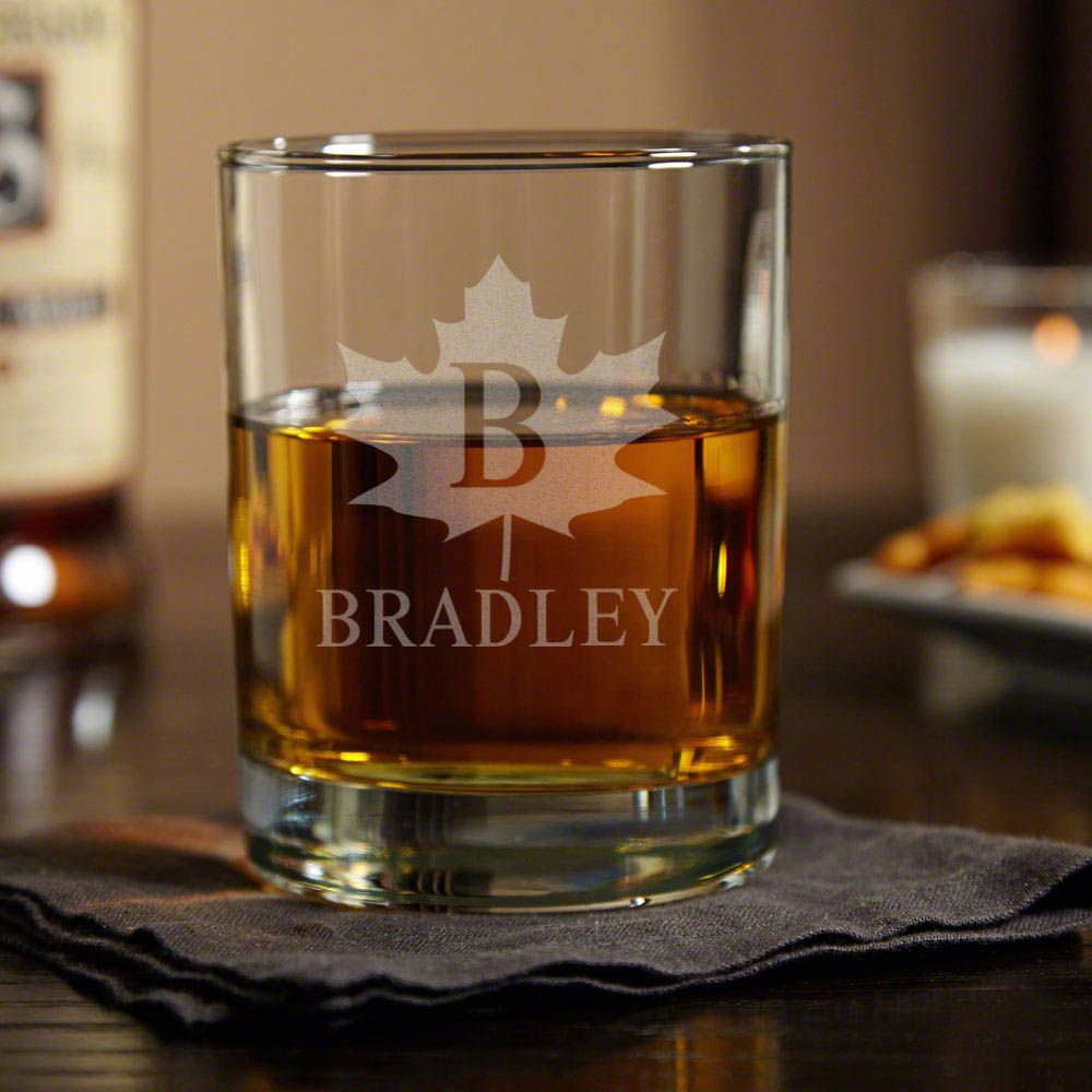 Maple Leaf Personalized Eastham Whiskey Glass