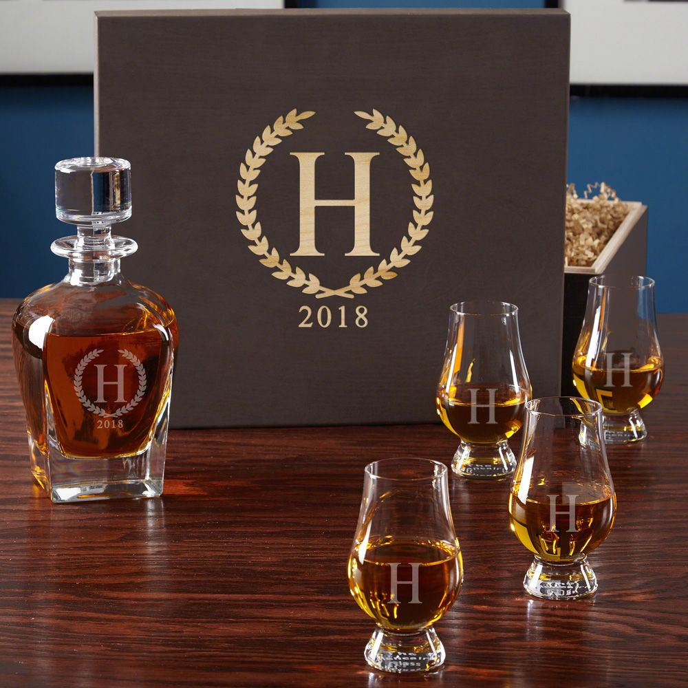 Statesman Whiskey Decanter and Glencairn Glass Set