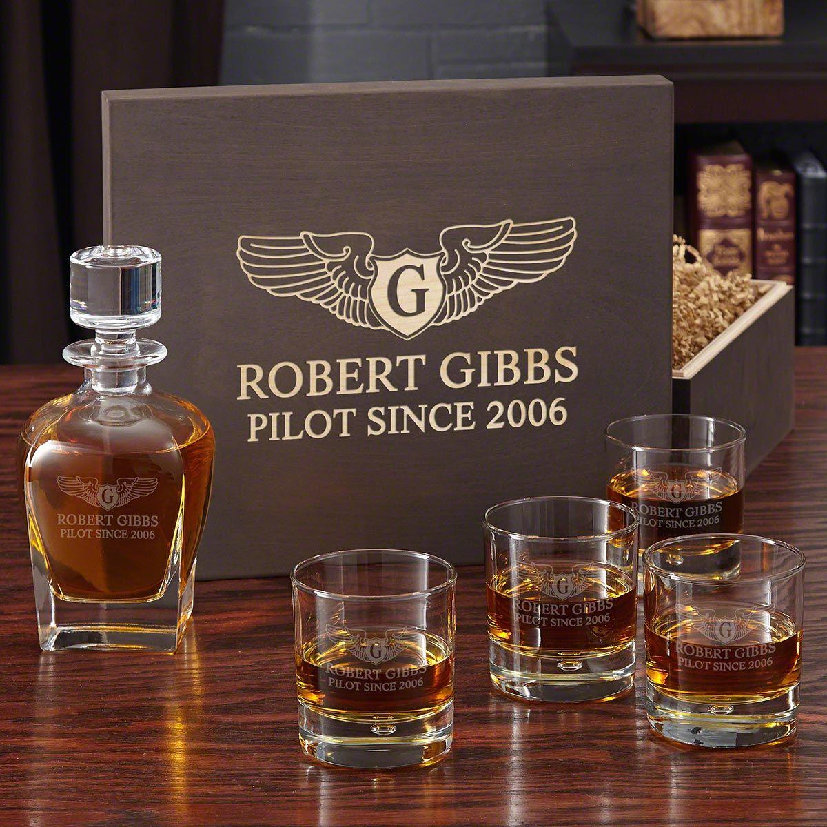 Take Flight Monogrammed Whiskey Glasses Set for Pilots