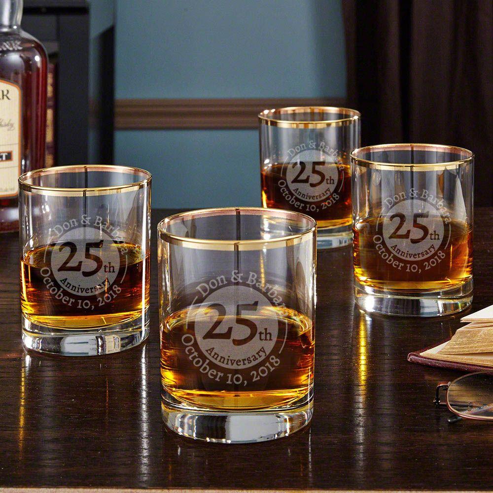 Gold Rim Landmark Anniversary Whiskey Glasses