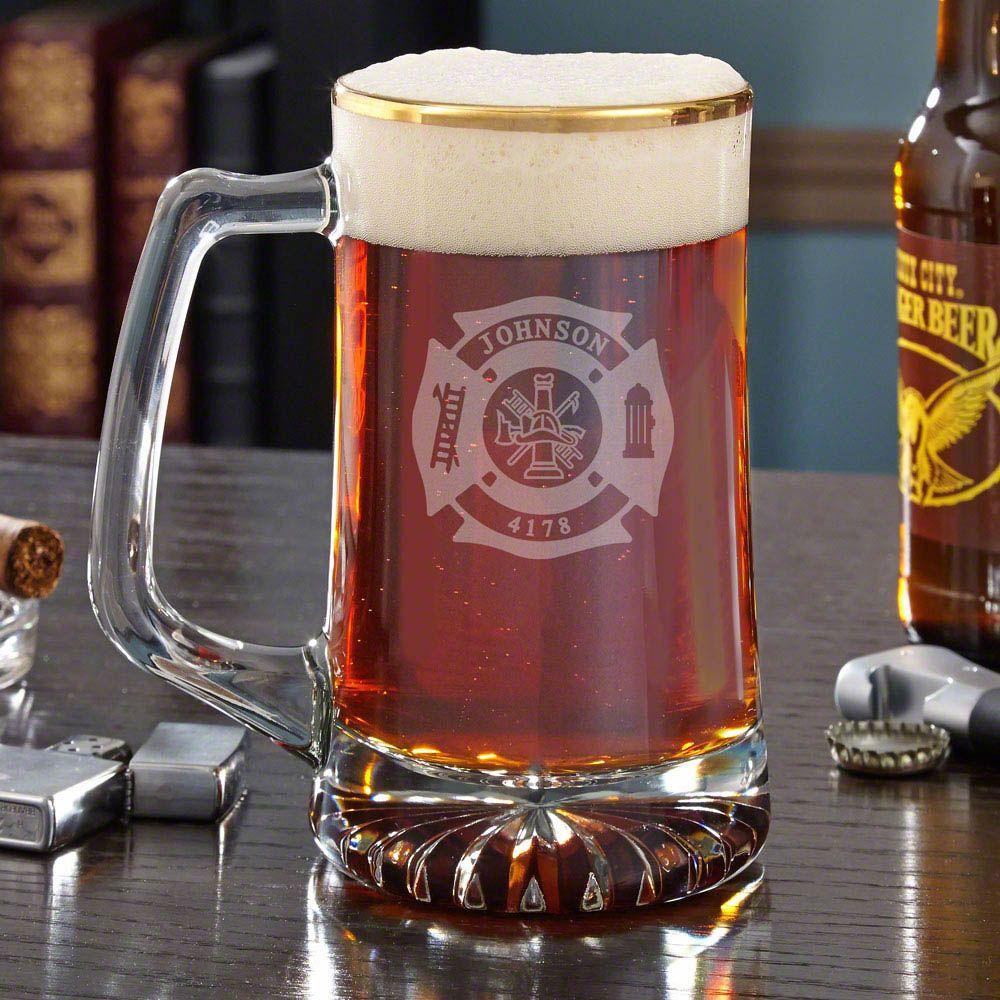 Fire & Rescue Engraved Gold Rim Beer Mug