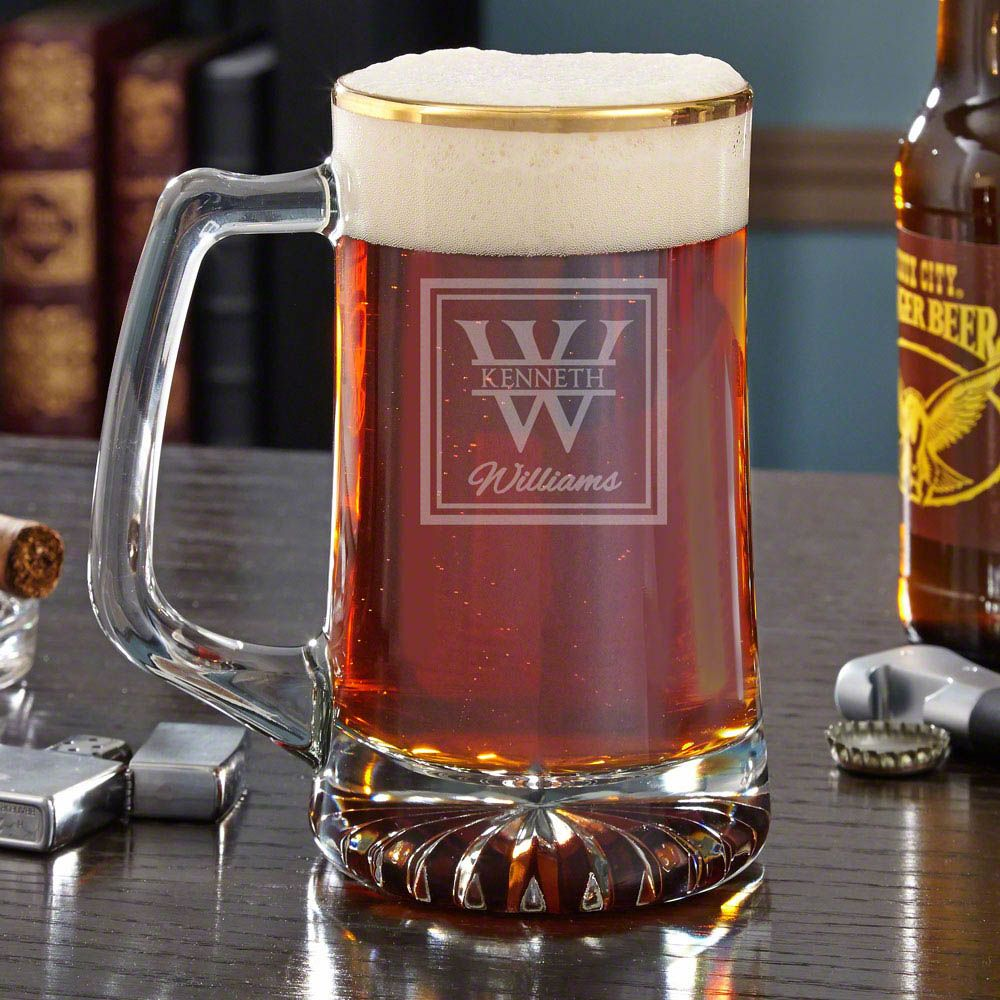 Oakhill Gold Rim Personalized Beer Mug