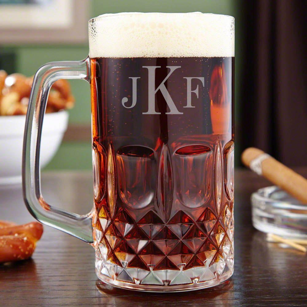 Brixton Diamond Cut Monogrammed Beer Mug