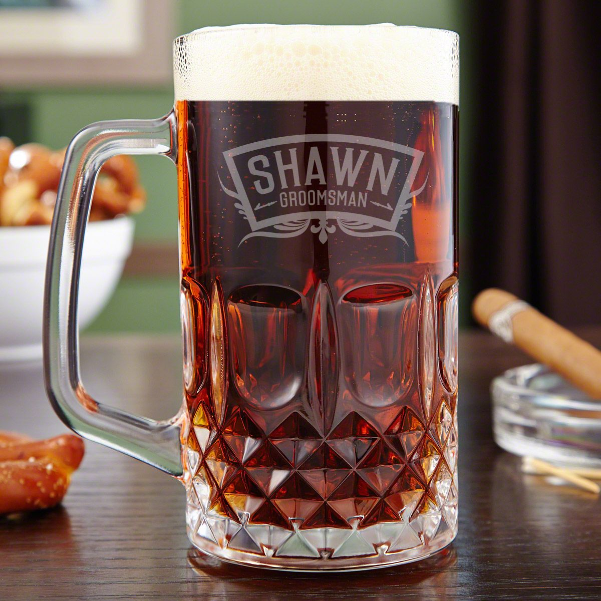 Brixton Wedding Party Engraved Beer Mug