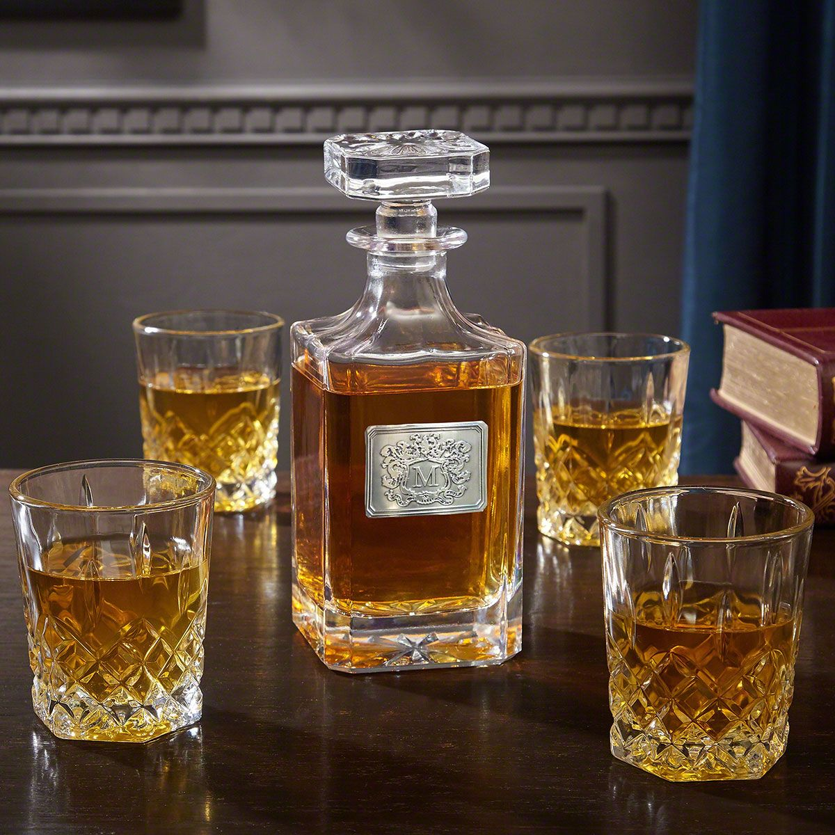 Royal Crest Personalized Liquor Decanter and Glasses Set