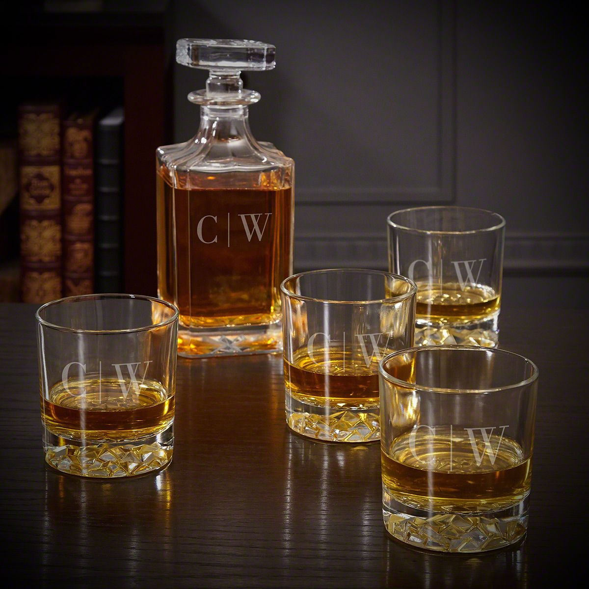 Quinton Monogram Glasses and Decanter Set