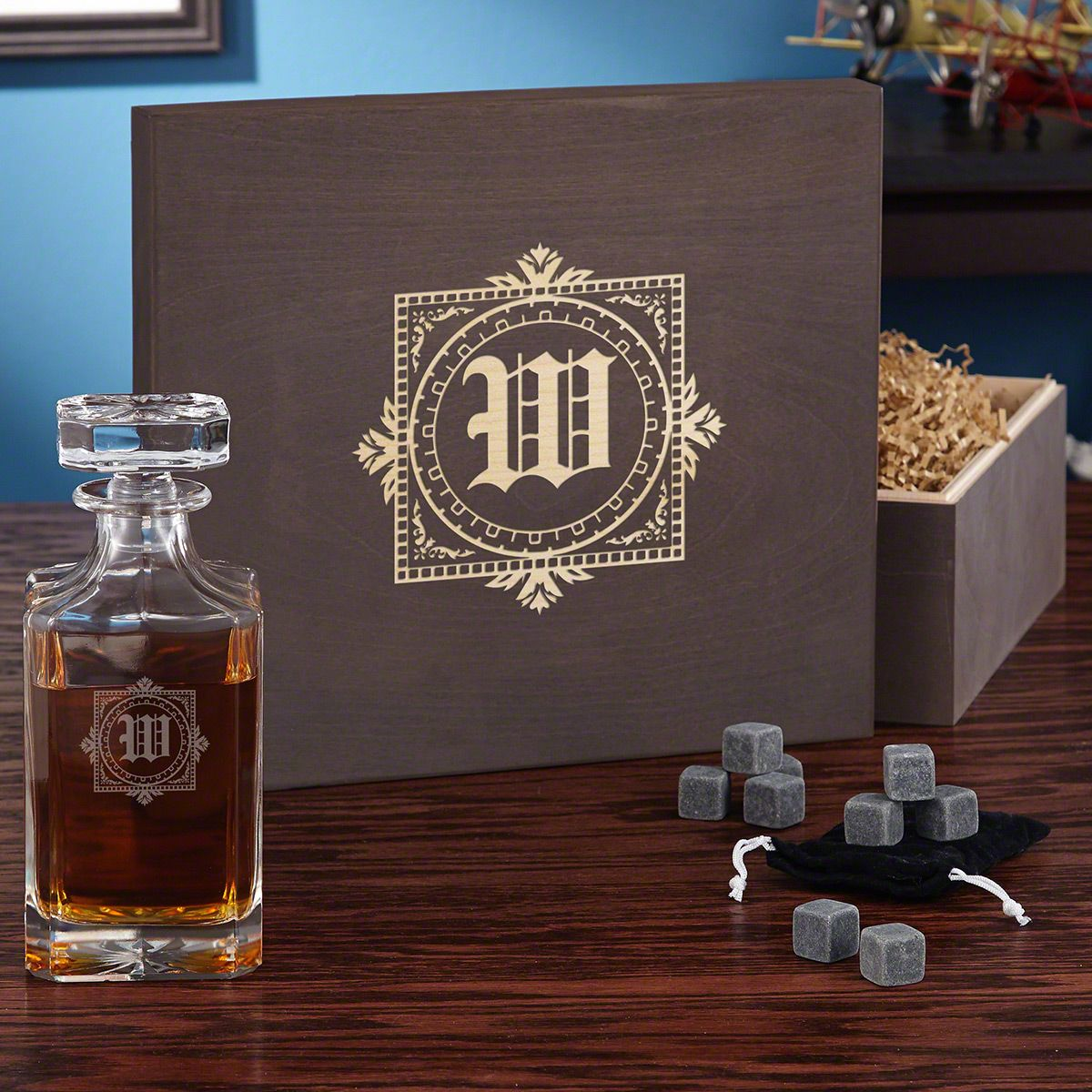 Winchester Engraved Decanter with Whiskey Stones