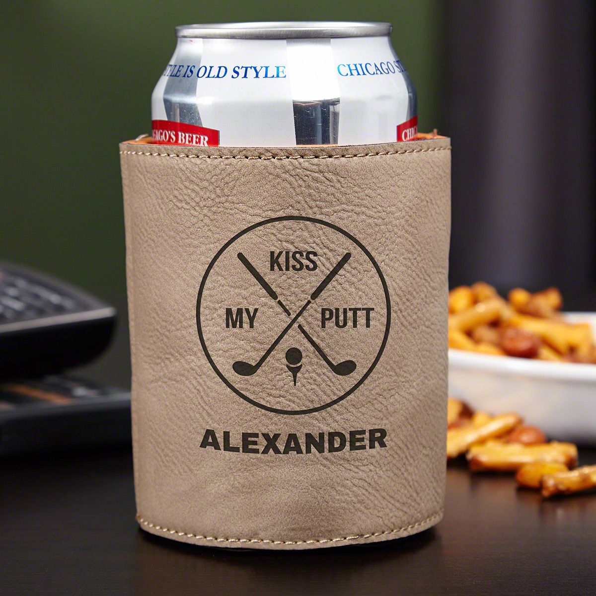 Kiss My Putt Faux Leather Can Holder, Natural