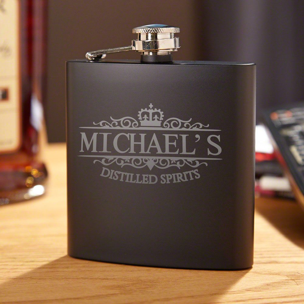 Kensington Blackout Personalized Flask