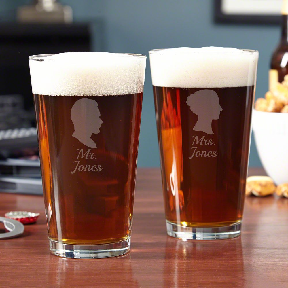 Mr. & Mrs. Personalized Pint Glasses