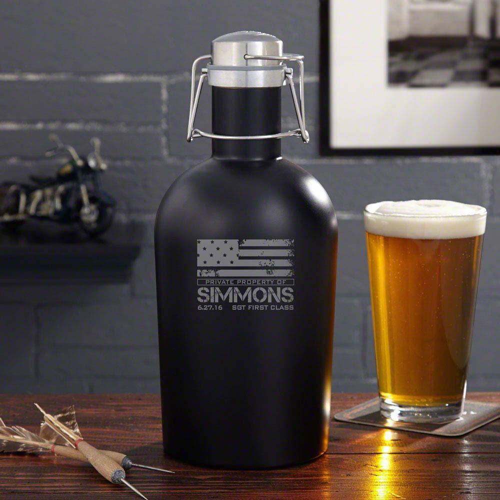 American Heroes Black Matte Beer Growler