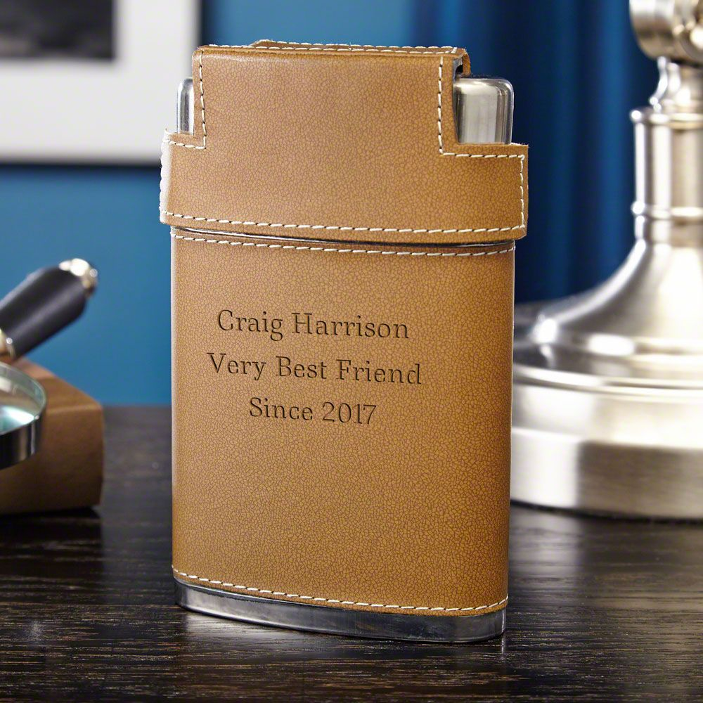 Cocoa Leather Personalized Flask and Shot Glass Set