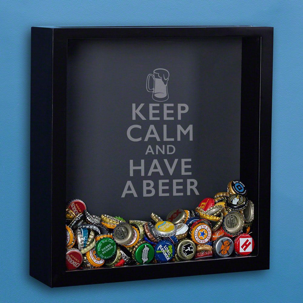 Keep Calm Beer Cap Shadow Box