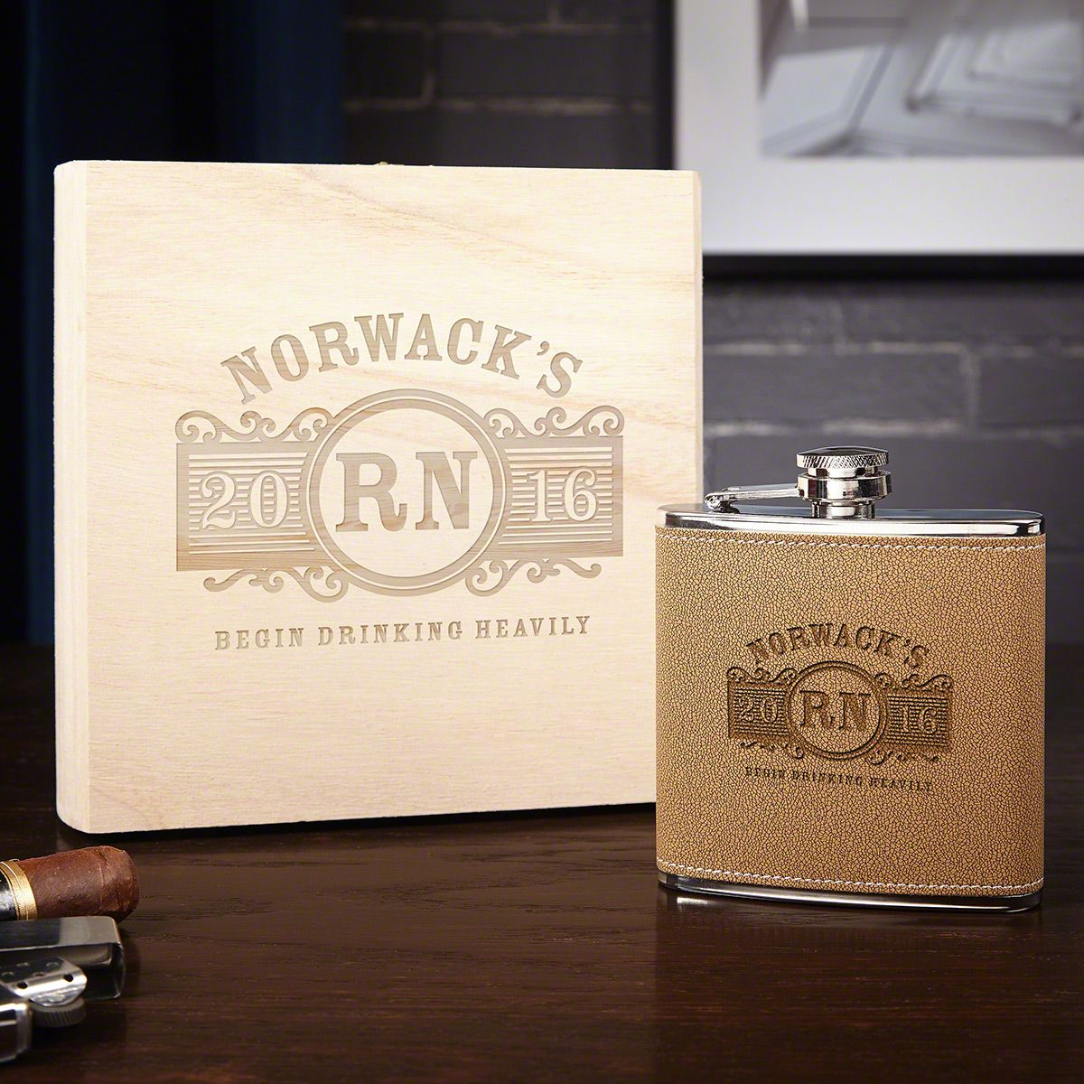 Marquee Flask Gift Set with Engraved Box