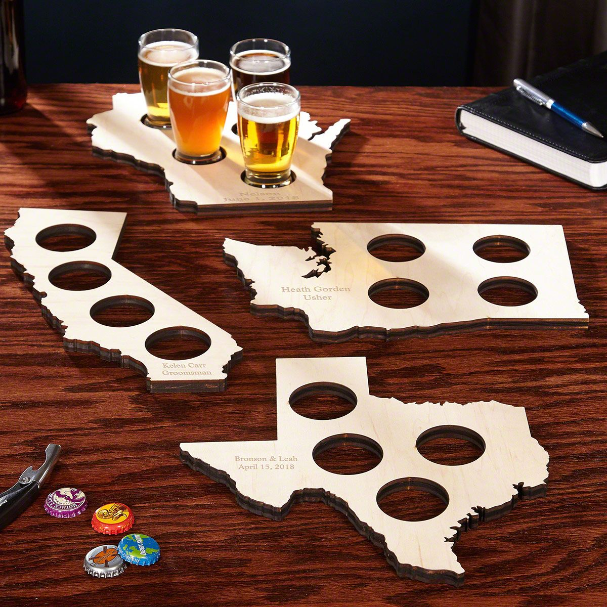 Home State Personalized Beer Flight Set - 13 States Available