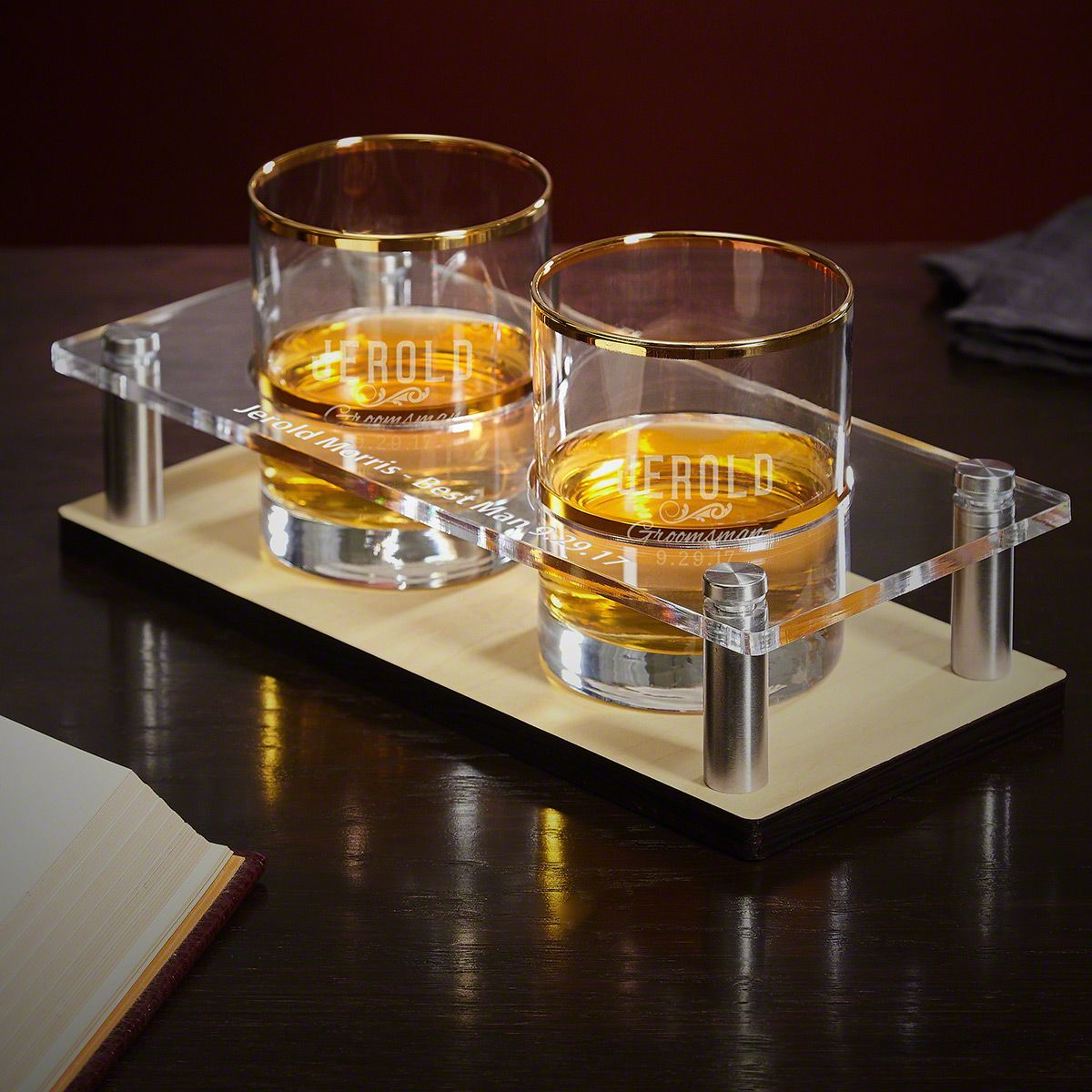 Classic Groomsman Whiskey Tray with Custom Gold Rim Glasses 3 pc Set
