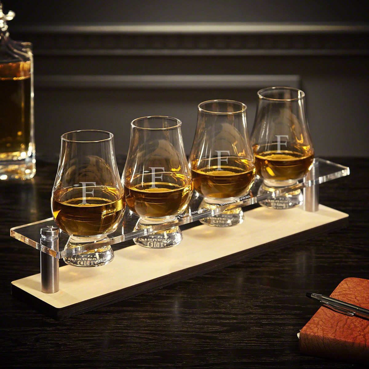 Personalized Serving Tray with Engraved Glencairn Glasses 5 pc