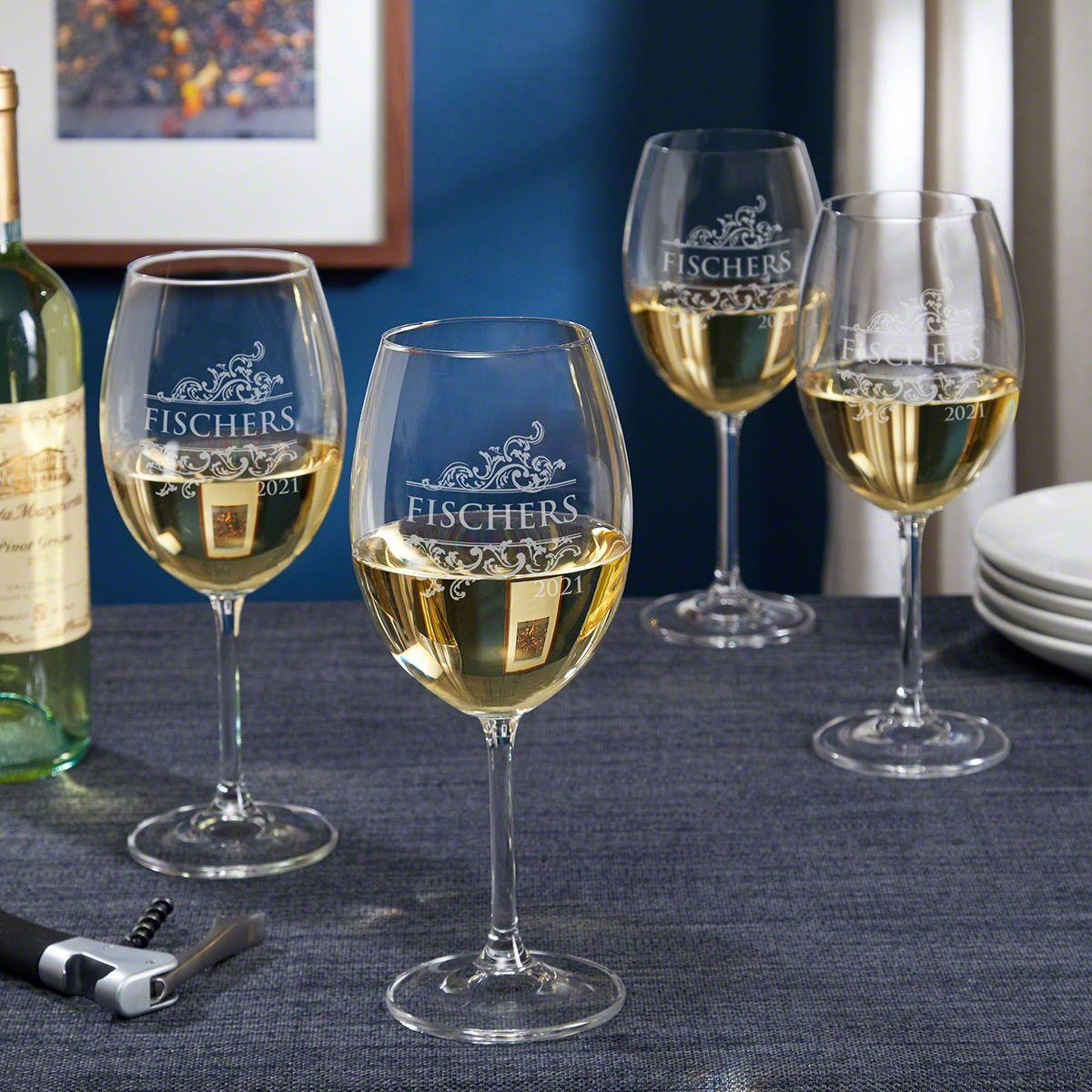 Livingston Etched Wine Glasses Set of 4