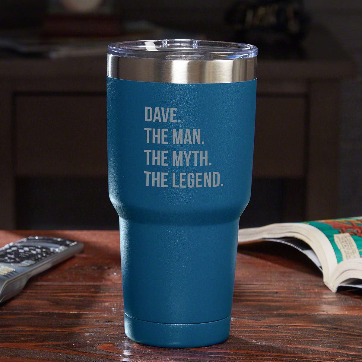 The Man The Myth The Legend Personalized Travel Mug - Blue