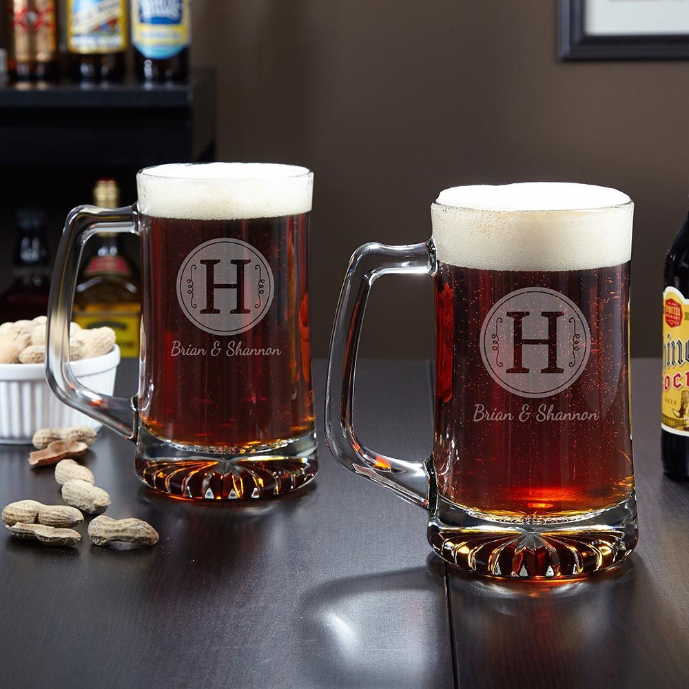 Renza Custom Beer Mugs, Set of 2