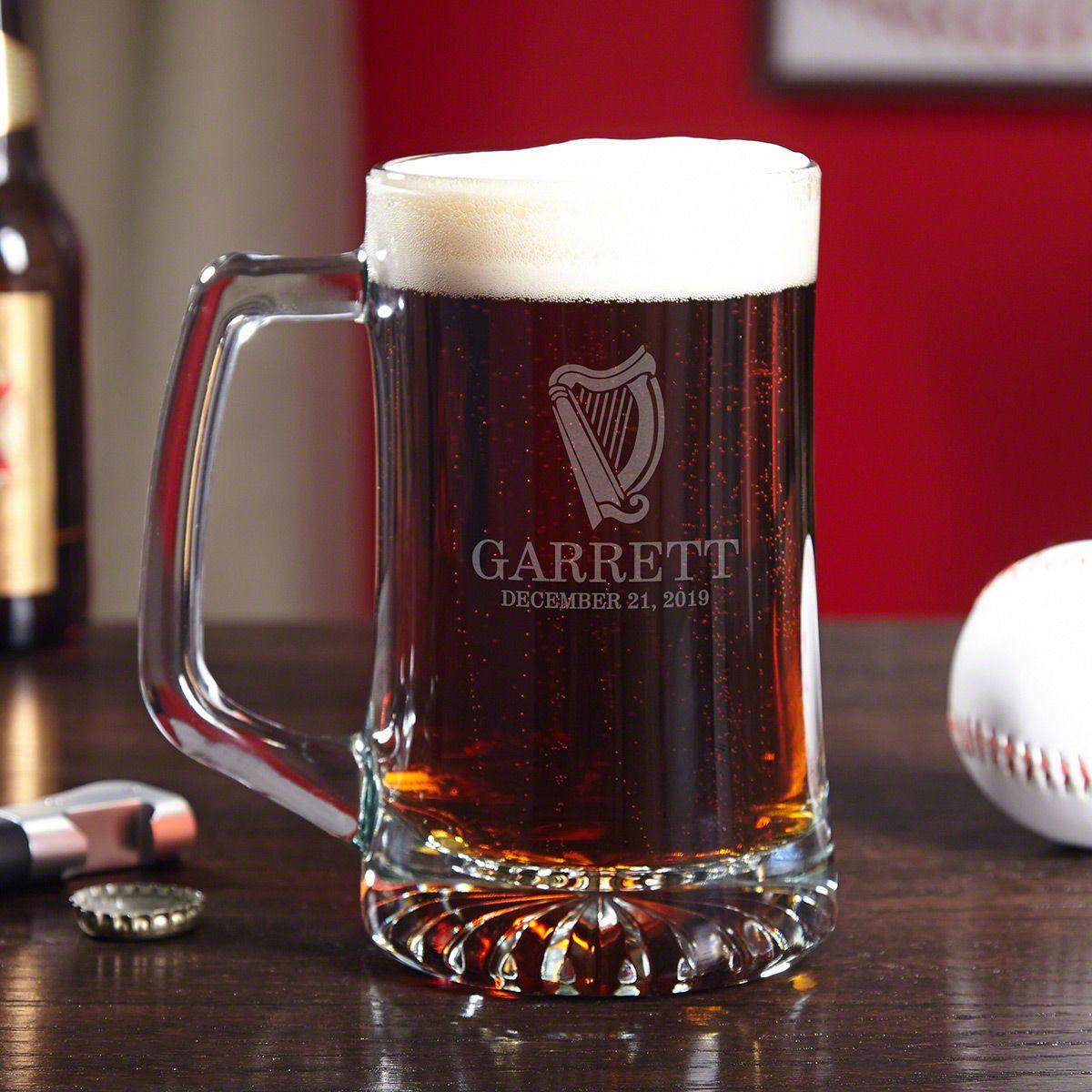 Celtic Harp Personalized Glass Beer Mug