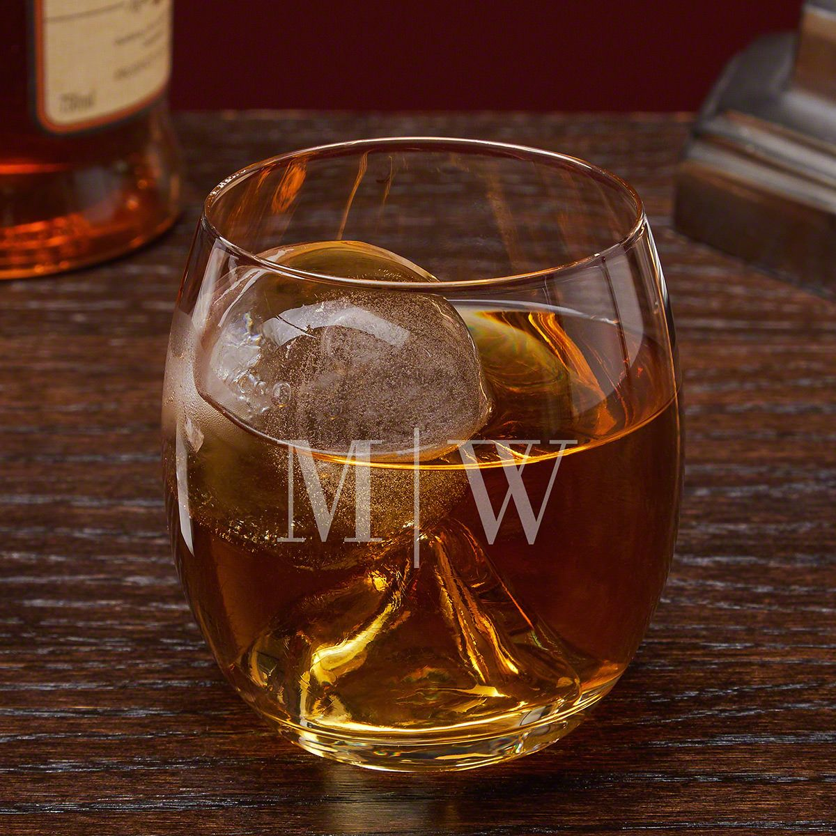 Quinton Personalized Whiskey Glass with Ice Ball