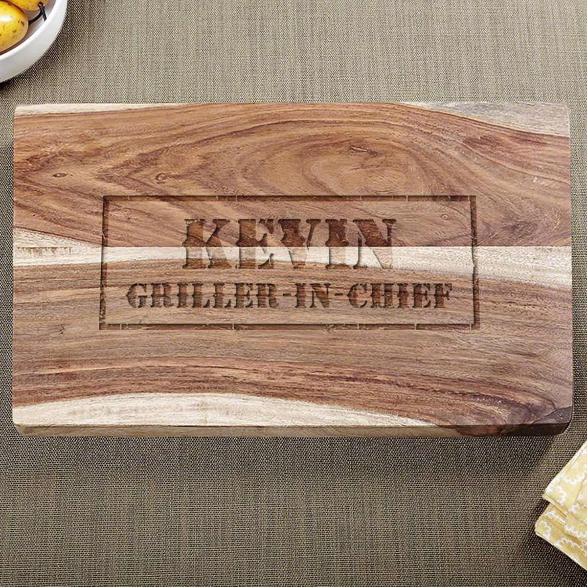 Branded BBQ Exotic Hardwood Etched Cutting Board